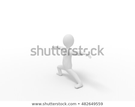 3次元の男 ヨガ 戦士 位置 ポーズ 3次元の図 ストックフォト © ribah