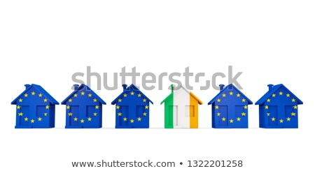House with flag of ireland in a row of EU flags Stock photo © MikhailMishchenko