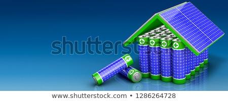 Enerji depolama afiş pil yenilenebilir Stok fotoğraf © RAStudio