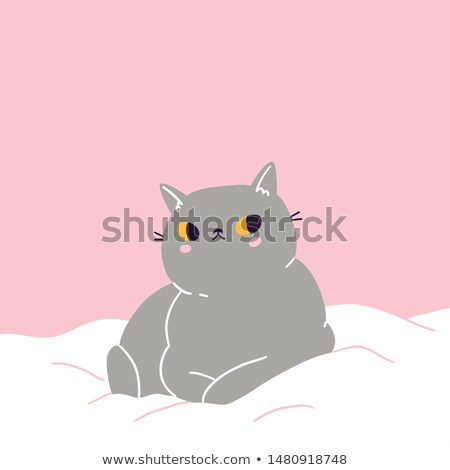 Cute British shorthair kitten sleeping on the bed Stock photo © dashapetrenko