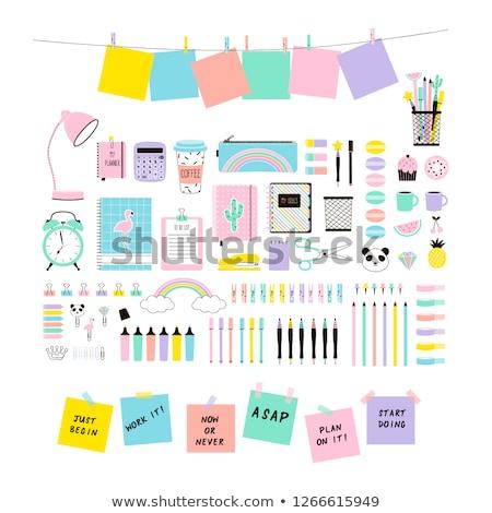 Terug naar school ontwerp potloden sticky notes post-it Rood Stockfoto © ikopylov