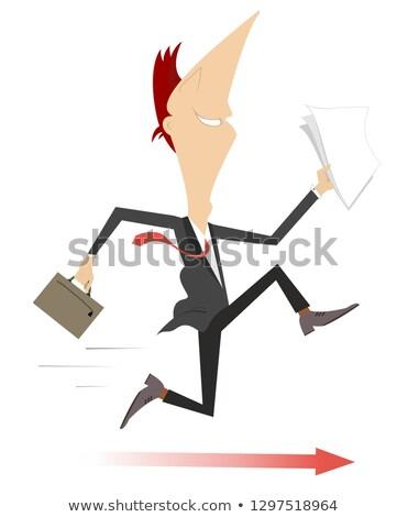 zakenman · lopen · haast · papieren · business · illustratie - stockfoto © tikkraf69