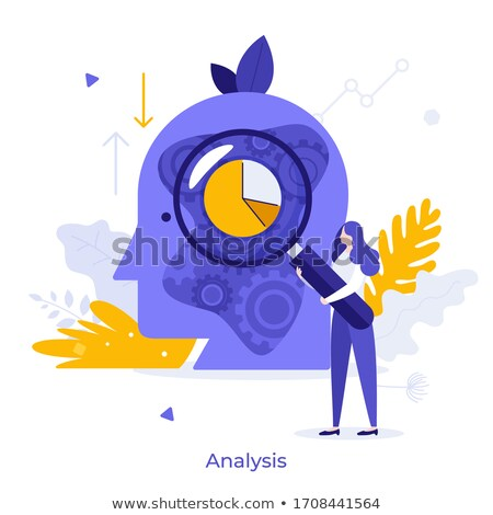 Statistical Chart or Graphic, Woman with Magnifier Stock photo © robuart