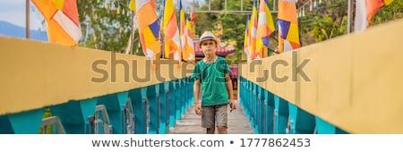 Fiú turista buddhista templom Vietnam utazó Stock fotó © galitskaya