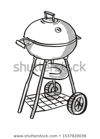Hordozható barbecue faszén grill rajz retro Stock fotó © patrimonio