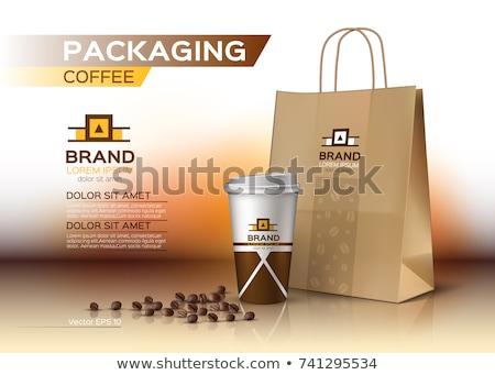 Kávéfőző műanyag csésze bab logo kávé Stock fotó © robuart