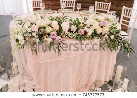 Esküvő virágmintás asztal dekoráció gyertyák átlátszó Stock fotó © ruslanshramko