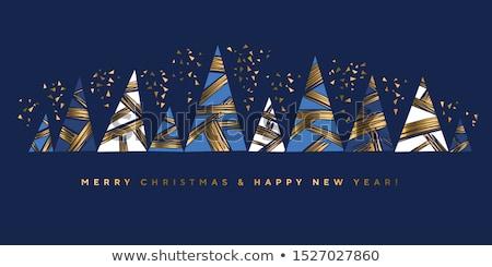 Vecteur carte bleu mosaïque arbre de noël Photo stock © blumer1979