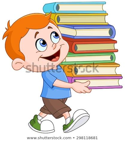 少年 図書 ベクトル 笑みを浮かべて ストックフォト © frimufilms