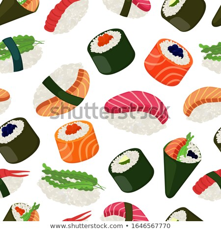 Sushi shrimp seamless vector pattern. Stock photo © yopixart