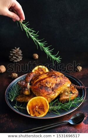 Domowej roboty kurczaka rozmaryn zioła serwowane Zdjęcia stock © dash