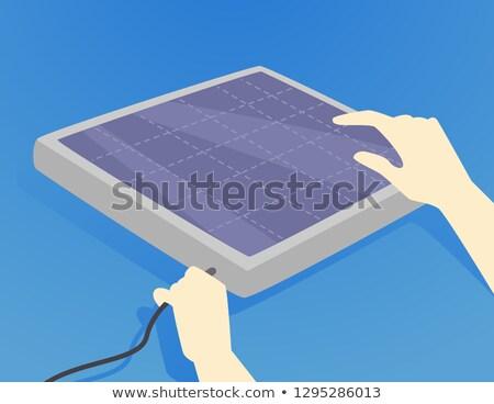 Hands Hurricane Preparedness Solar Panel Stock photo © lenm