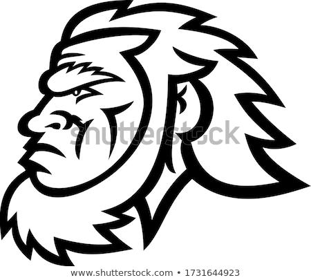 Caveman Head Side Mascot Stock photo © patrimonio