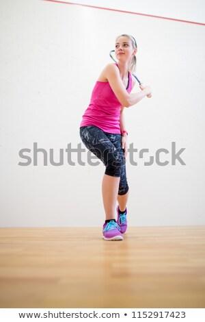 Cute młoda kobieta miąższ sąd gotowy gry Zdjęcia stock © lightpoet