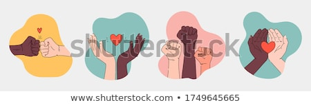 Black lives matter, female hands protest against racism, vector Stock photo © beaubelle