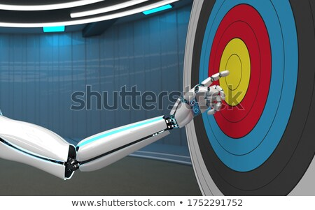 Humanoid robot hand with a classic target. 3d illustration. Stock photo © limbi007
