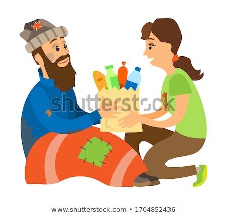 Tart étel osztás hajléktalan vektor mosolygó nő Stock fotó © robuart