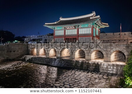 Kuzey kapı gece kale Güney Kore atış Stok fotoğraf © eh-point