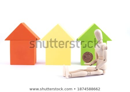 rent and coins in toy blocks Stock photo © morrbyte