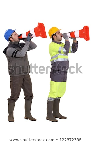 Man using a traffic cone as a megaphone Stock photo © photography33