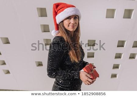 meisje · opening · geschenkdoos · witte · vrouw - stockfoto © get4net