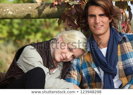 paar · witte · houten · hek · glimlach - stockfoto © photography33