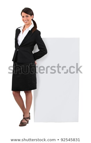brunette stood with message board stock photo © photography33