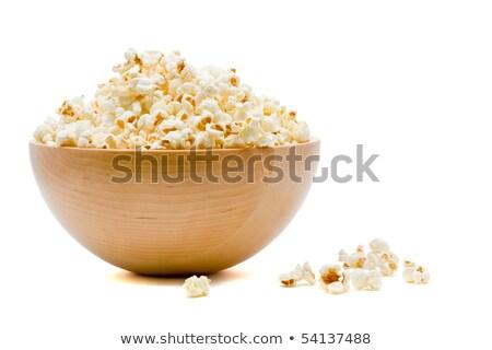 Stock fotó: Finom · pattogatott · kukorica · tál · fehér · egészség · háttér