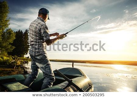 Reifer Mann Fischerei Fluss Wasser Gras Mann Stock foto © photography33