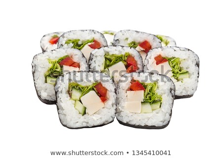 sushi roll set with eel, sweet pepper, cucumber Stock photo © Elmiko