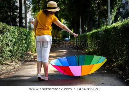 mulher · arco-íris · guarda-chuva · retrato · mulher · jovem · isolado - foto stock © grafvision