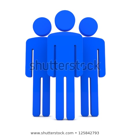 Stock photo: Teem of Three Human Figures Standing Together on the White