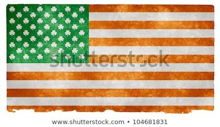 ír zászló shamrock régi papír klasszikus virág Stock fotó © marinini