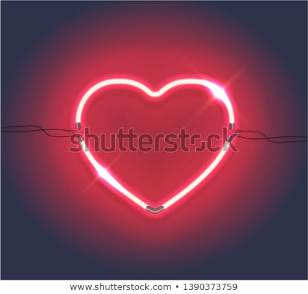 Stock photo: Red glow heart Valentines day card with. EPS 8