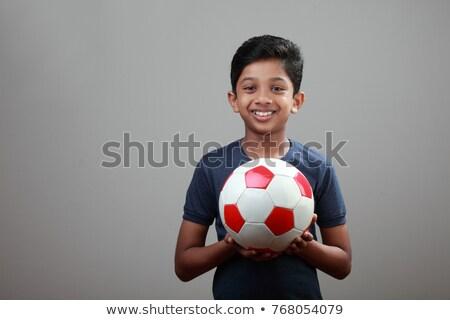 portré · fiatal · srác · futball · fehér · gyermek · labda - stock fotó © wavebreak_media