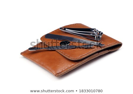 Leather case nail set isolated Stock photo © michaklootwijk