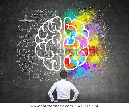 Kara tahta yaratıcı düşünme iyi fikirler bilgisayar yüz Stok fotoğraf © kuligssen