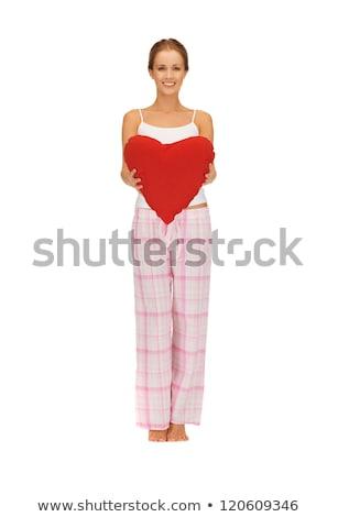 mulher · algodão · pijama · grande · coração · quadro - foto stock © dolgachov