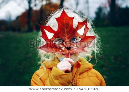 Gezicht Rood bladeren vrouw mode abstract Stockfoto © shawlinmohd