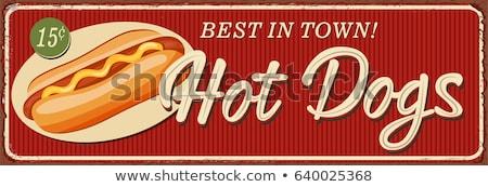 Klasszikus hot dog poszter sablon bisztró étterem Stock fotó © DavidArts