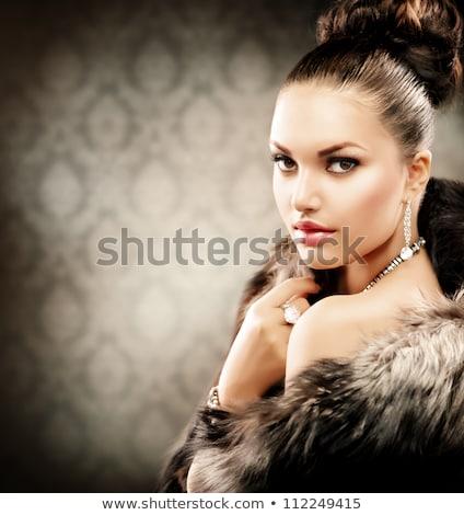 Mooie vrouw winter pels Blauw glimlach mode Stockfoto © Nejron