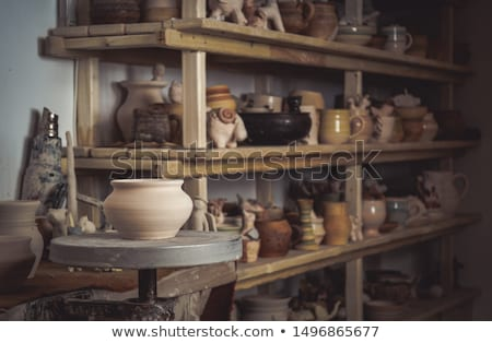 Cserépedények kézzel készített kerámia vásár szín kéz Stock fotó © OleksandrO