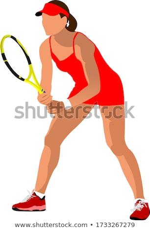 Człowiek kolorowy sportu serwera sylwetka Zdjęcia stock © leonido