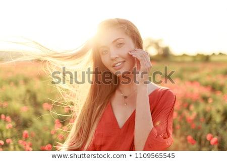 portret · dość · młoda · kobieta · ciszy - zdjęcia stock © neonshot