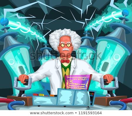 Cartoon mad wetenschapper hand ontwerp gek Stockfoto © lineartestpilot