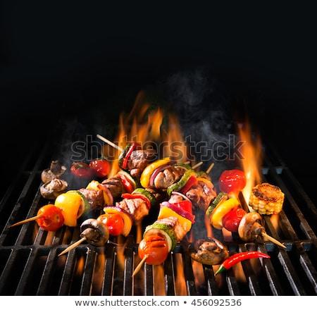 grillezett · kebab · hús · hagyma · paradicsom · fehér - stock fotó © m-studio