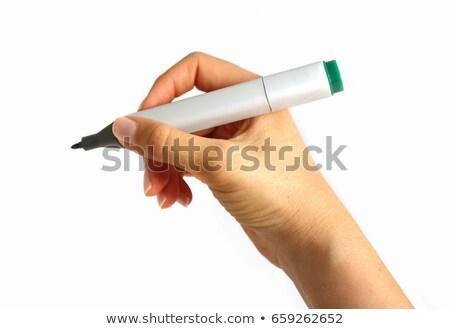 Hand Holding Green Marker  Stock photo © ivelin