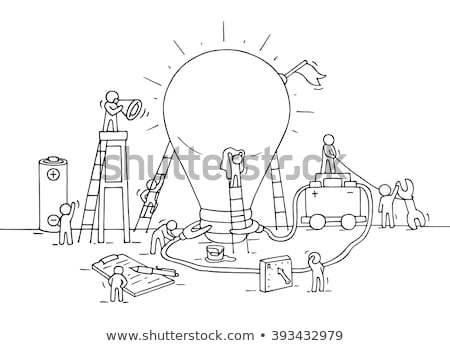 Stock photo: Infographics Idea Lamp with Business doodles Sketch background: infographics