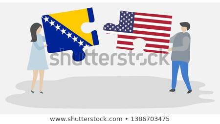 EUA Bosnia Herzegovina banderas rompecabezas vector imagen Foto stock © Istanbul2009