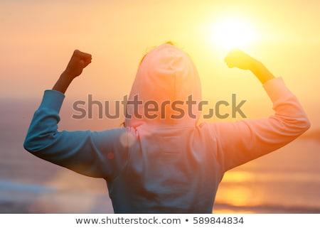 örnek · kadın · spor · gün · batımı · bisiklet · bisiklet - stok fotoğraf © adrenalina